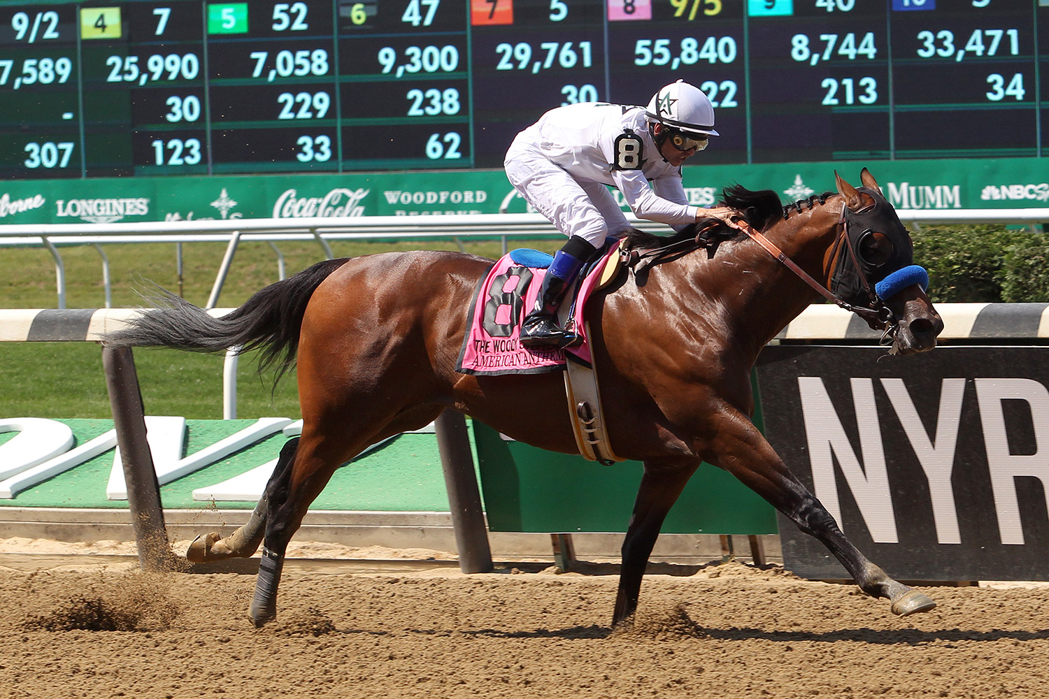 American Anthem wins the 2017 G2 Woody Stephens with Mike Smith up for trainer Bob Baffert and owners WinStar Farm, Head of Plains Partners, China Horse Club, and SF Racing, 2017 Belmont Stakes